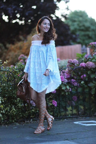 preppy fashionist blogger dress gladiators blue and white off the shoulder dress