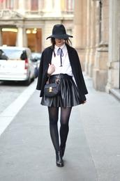 vogue haus,blogger,skater skirt,black skirt,leather skirt,black coat,shirt,skirt,coat,shoes,hat,bag,jewels