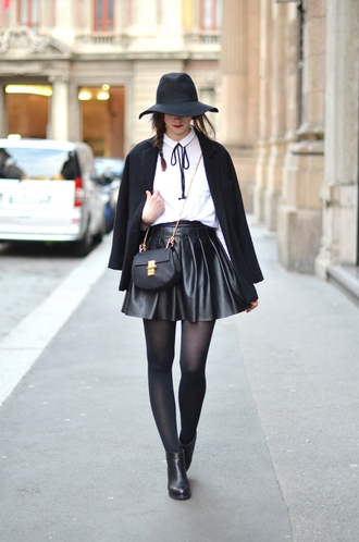 vogue haus blogger skater skirt black skirt leather skirt black coat shirt skirt coat shoes hat bag jewels