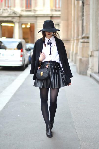 vogue haus blogger skater skirt black skirt leather skirt black coat shirt skirt coat shoes hat bag jewels