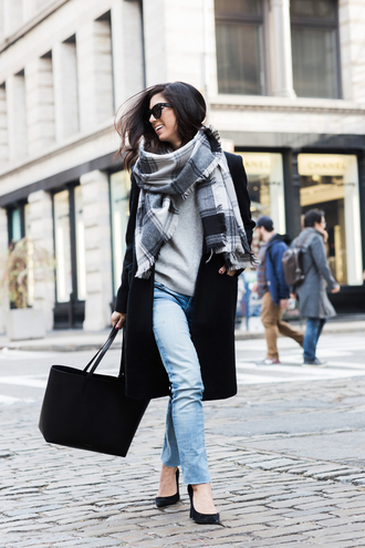 this time tomorrow blogger coat sweater jeans scarf shoes bag sunglasses plaid oversized scarf oversized scarf light blue jeans black pumps black tote grey sweater black coat plaid scarfs black sunglasses wayfarer black wayfarer