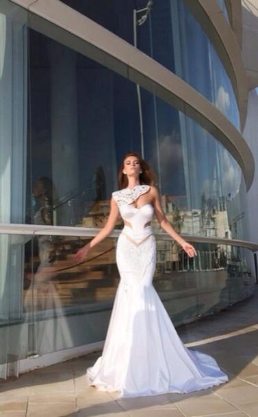 dress white long dress evening dress one shoulder