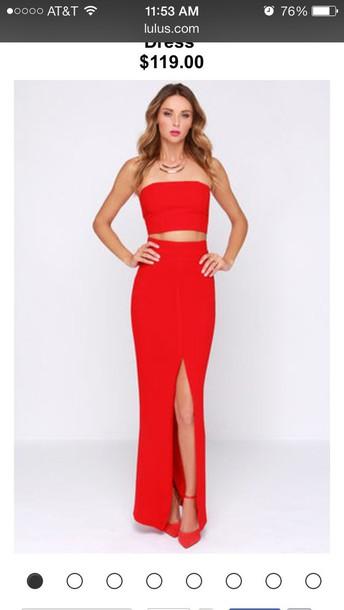 dress red two piece dress