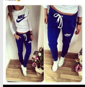 pants,nike,blue,tracksuit,sweater,blouse,blue pants,shirt