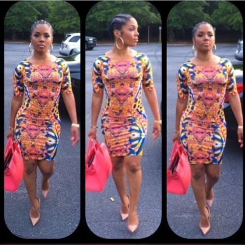 Celebrity inspired rasheeda abstract gold chains and baroque print bodycon dress