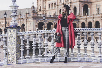 shoes and basics blogger coat sweater pants bag shoes beret red coat trench coat winter outfits grey pants