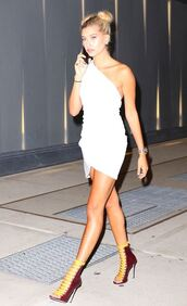 dress,asymmetrical,asymmetrical dress,white dress,white,summer dress,summer outfits,hailey baldwin,model off-duty,sandals,hairstyles,hair,mini dress,one shoulder,shoes,sandal heels