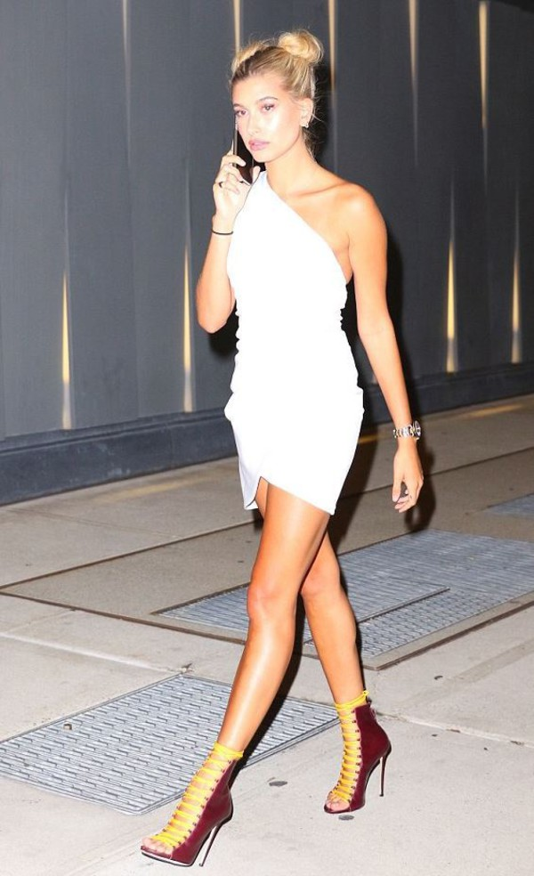 dress asymmetrical asymmetrical dress white dress white summer dress summer outfits hailey baldwin model off-duty sandals hairstyles hair mini dress one shoulder shoes sandal heels