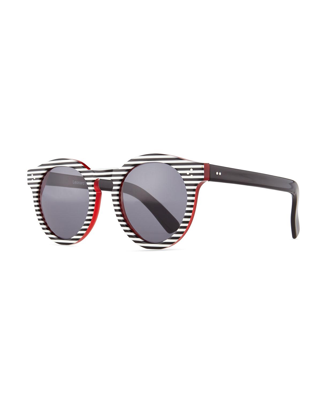 Illesteva Leonard II Striped Sunglasses, Black/White