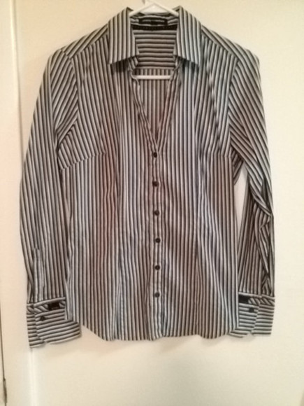 women's shirt white black express striped pinstripe grey career button down