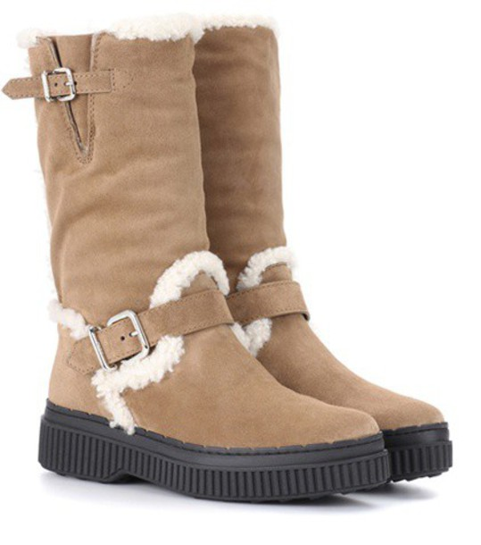 TOD'S fur suede boots suede beige shoes