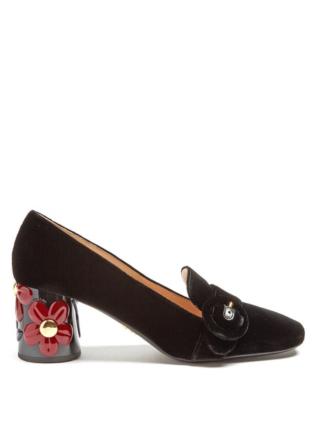 Prada heel pumps velvet black shoes
