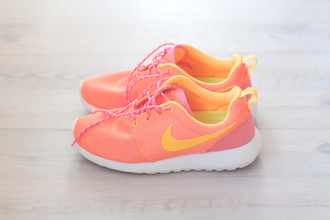 sportswear nike shoes running shoes sports shoes pink orange air max nike air max thea roshes nike roshe run yellow nike running shoes white pink shoes pastel