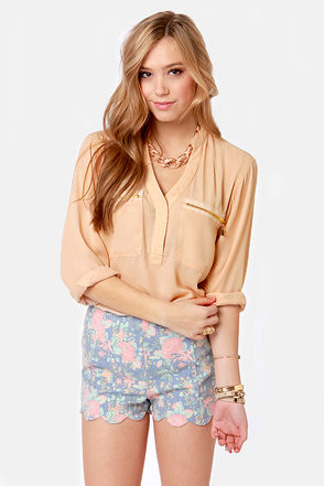 Cute Beige Top - Long Sleeve Top - Sheer Top - $49.00