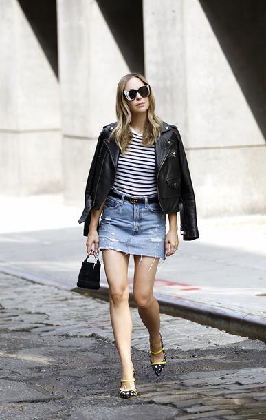 shoes mules polka dots mini skirt denim skirt ripped skirt belt handbag striped t-shirt leather jacket sunglasses