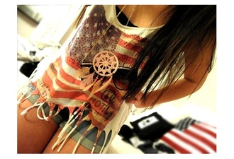 jewels hippie usa american flag vintage dreamcatcher dreamcatcher necklace shirt tank top