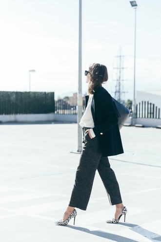 coat tumblr black coat bag black bag shirt white shirt pants grey pants cropped pants pumps pointed toe pumps high heel pumps winter work outfit work outfits office outfits