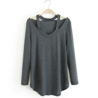 top brenda shop off the shoulder best v neck t-shirt blouse basic sportswear trendy grey cute top cute outfits brendashop long sleeves solid color