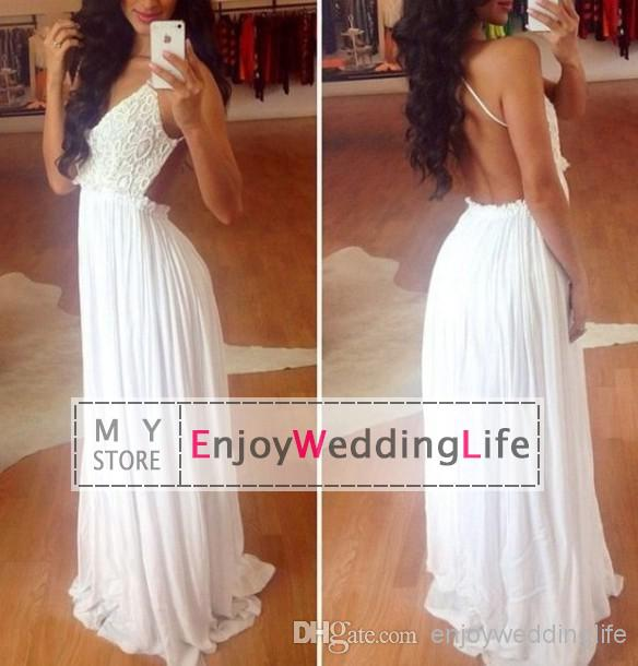 Discount 2014 sexy new white spaghetti straps chiffon prom dresses lace beaded rhinestones top backless floor length evening gowns online with $138.12/piece