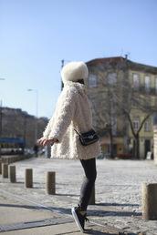b a r t a b a c,blogger,fur hat,fuzzy coat,mini bag,beige fluffy coat,black dress,crossbody bag,fluffy,white fur hat