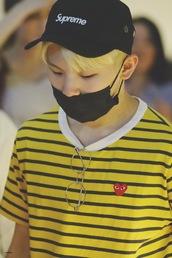shirt,striped shirt,glasses,kpop,cap,yellow,face mask