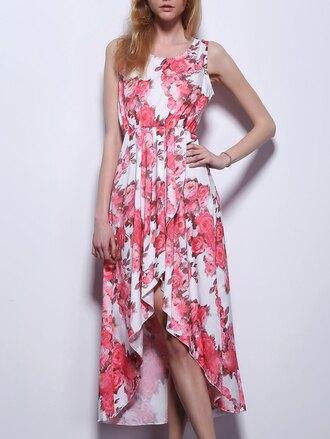 dress floral fashion style summer spring asymmetrical feminine gamiss