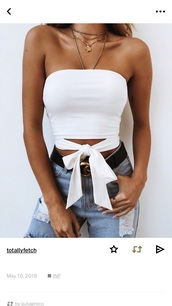 shirt,t-shirt,tank top,tie front,tube top,white,bow,tie-front top,summer,cute,vsco,tumblr,tumblr outfit,instagram,winter outfits,party,outfit,pretty