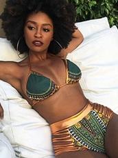 swimwear,tribal pattern,high waisted bikini,gold