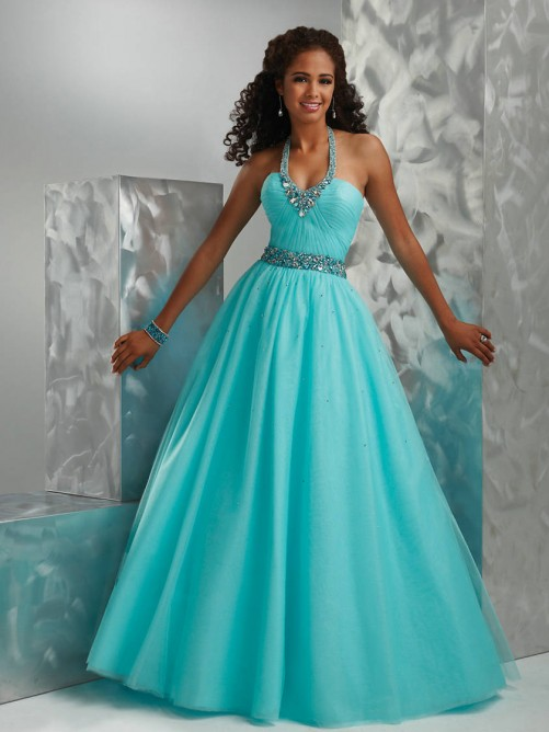 Ball Gown Halter Organza Quinceanera Dress