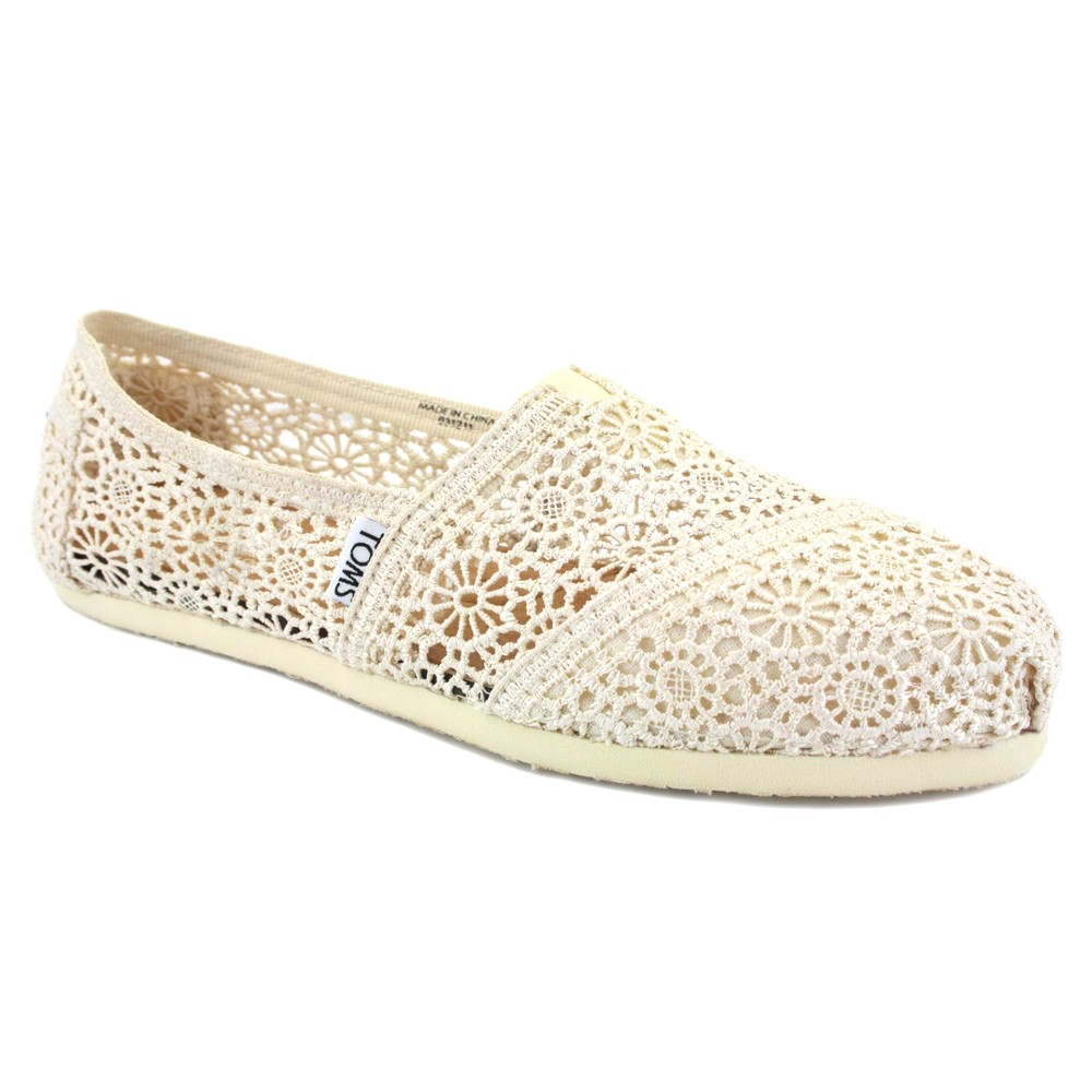 Toms Crochet Classic Womens Slip On Textile Trainers Natural