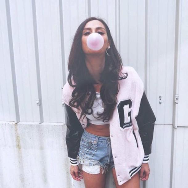 jacket coat b&w black white vest teddy baseball jacket