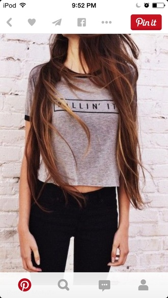 shirt top tee grey gray grey shirt love it style clothes summer fall spring winter outfits jeans denim black denim black jeans gray t-shirts quote on it