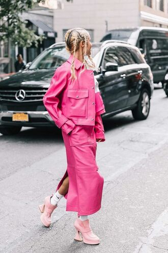 jacket pink pink jacket leather jacket pants shoes booties pink shoes