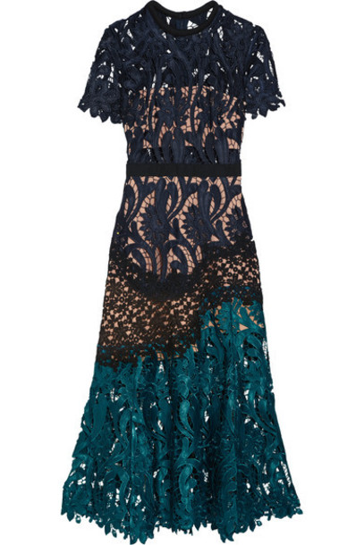 self-portrait dress midi dress midi lace blue