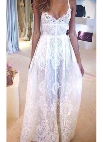 dress white lace white dress maxi dress long dress sleeveless dress