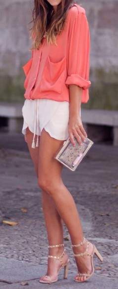 bag coral top t-shirt platform shoes wedges style classy hot summer outfits orange streetwear streetstyle denim nude high heels boots shorts High waisted shorts denim shorts bottoms