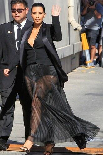 skirt kim kardashian all black everything sandals blazer sheer maxi skirt