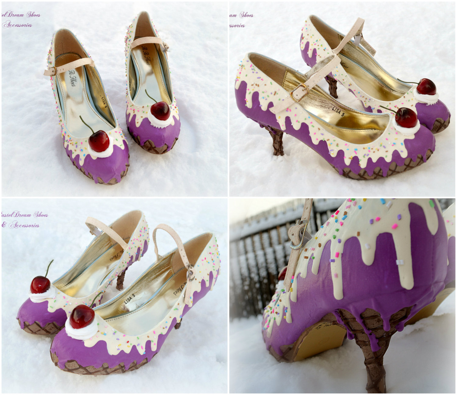 Mid high! drippy icecream cupcake custom made heels shoes one of the kind, pastel goth, fairy kei, kawaii,cute