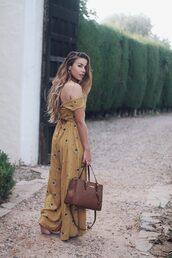 jumpsuit,tumblr,off the shoulder,wide-leg pants,yellow,bag,tote bag