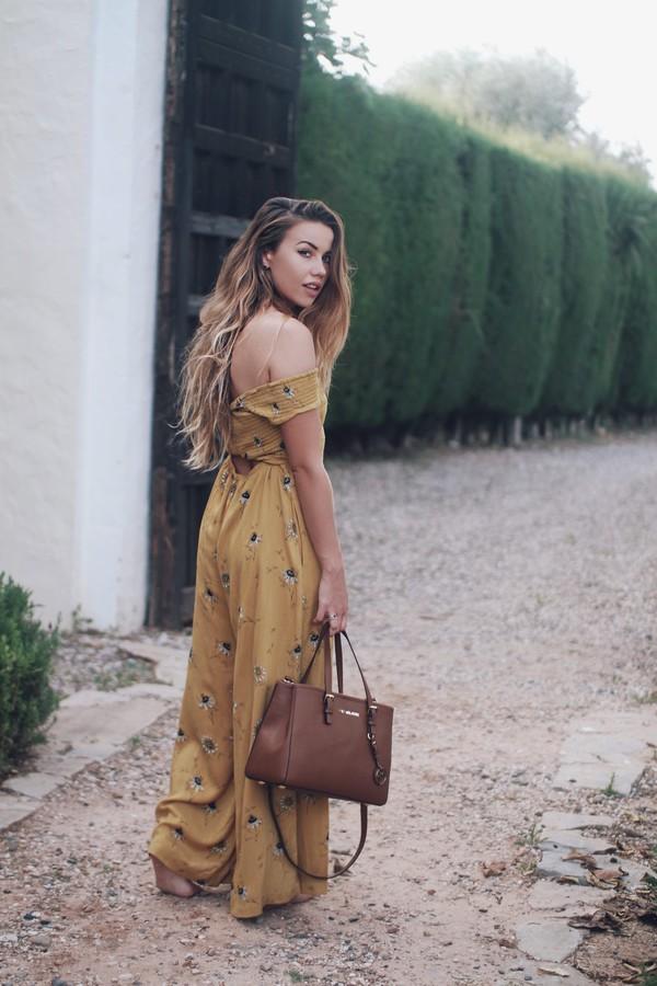 633772f180aa jumpsuit tumblr off the shoulder wide-leg pants yellow bag tote bag.