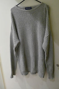 Apparel knitted fisherman oversized sweater jumper grey M | eBay