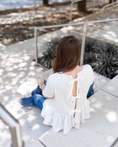 top,tumblr,bow,open back,backless,backless top,white top