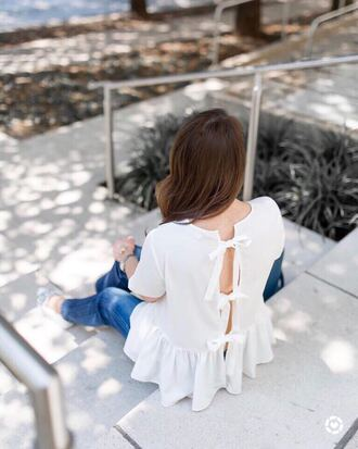 top tumblr bow open back backless backless top white top