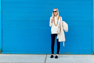 kelly in the city - a preppy chicago life style and fashion blog blogger shoes jeans sweater jewels coat white sweater loafers trench coat