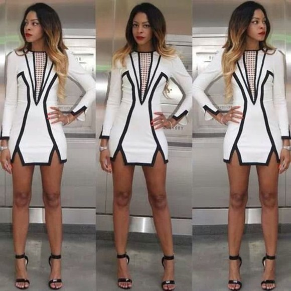geometric dress white black fitted