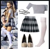 top,ariana grande,tank top,shirt,skirt