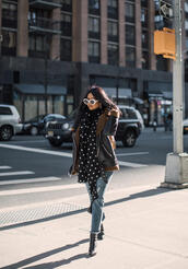 jacket,tumblr,black jacket,leather jacket,black leather jacket,denim,jeans,blue jeans,cropped jeans,scarf,polka dots,boots,black boots,sunglasses