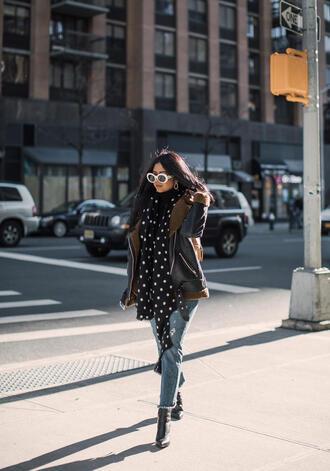 jacket tumblr black jacket leather jacket black leather jacket denim jeans blue jeans cropped jeans scarf polka dots boots black boots sunglasses