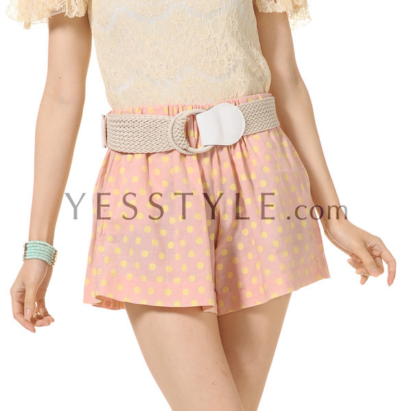 Dotted Shorts with Belt, Pink , One Size - YesStyle Z | YESSTYLE