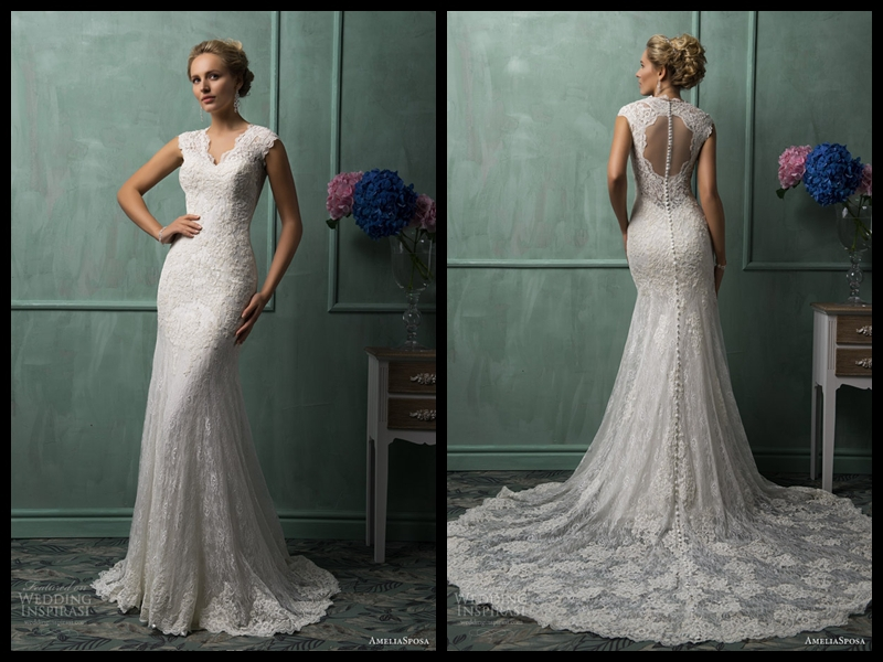 2014 Spring New Style V Neck Amelia Sposa Cap Sleeve Lace Gown Illusion Back Ivory Mermaid Wedding Dress With Applique Beads-in Wedding Dresses from Apparel & Accessories on Aliexpress.com